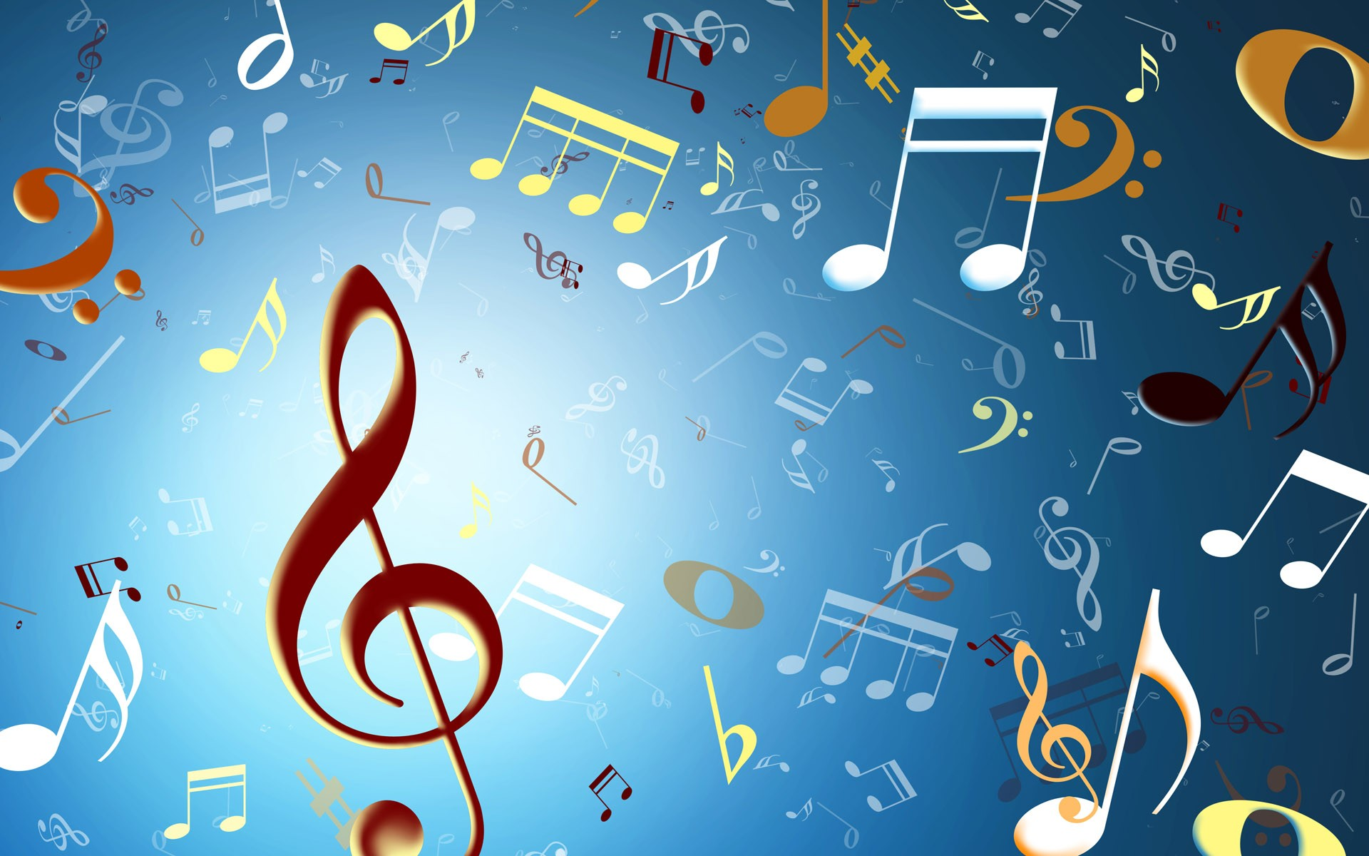 Скачать обои Скрипичный ключ, ноты, свет - Обои раздела Разное.